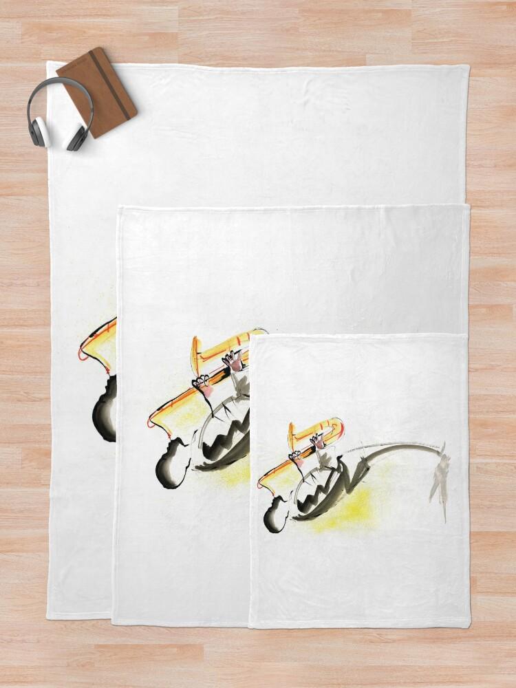 Alternate view of Jazz Saxophone Musician Throw Blanket