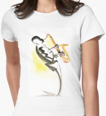 Jazz Saxophone Musician Fitted T-Shirt