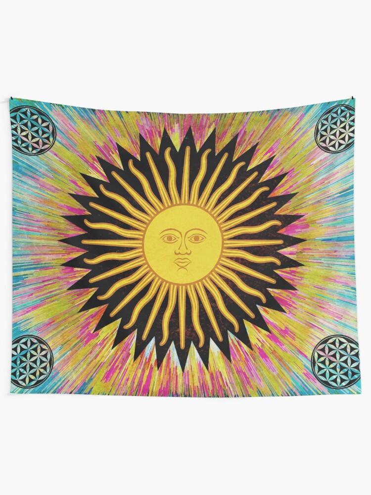 Alternate view of Psychedelic Sun Star / Bohemian Zen Hippie Festival  Tapestry