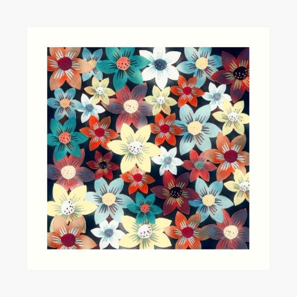 Colorful Floral Scarlet Pimpernel Garden Pattern Art Print
