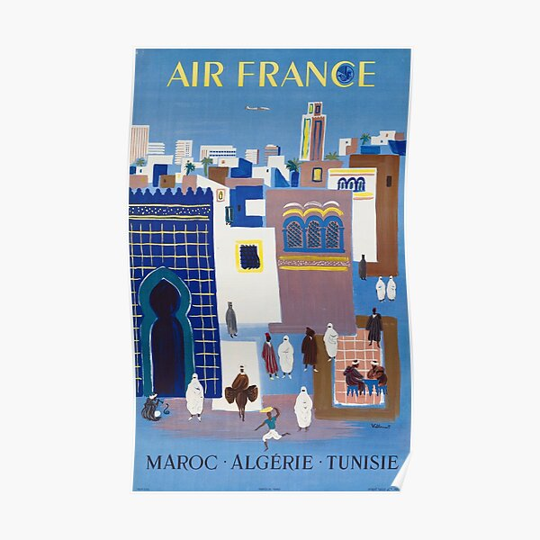 Maroc Algerie Tunise - 1960s Vintage Air France Travel Poster Poster