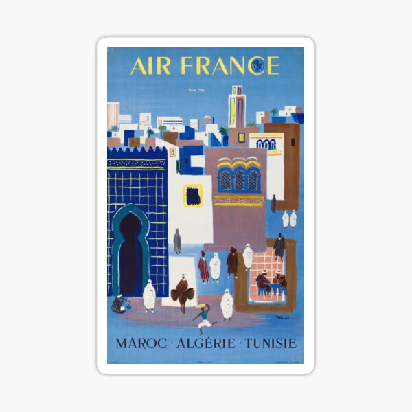Maroc Algerie Tunise - 1960s Vintage Air France Travel Poster Sticker