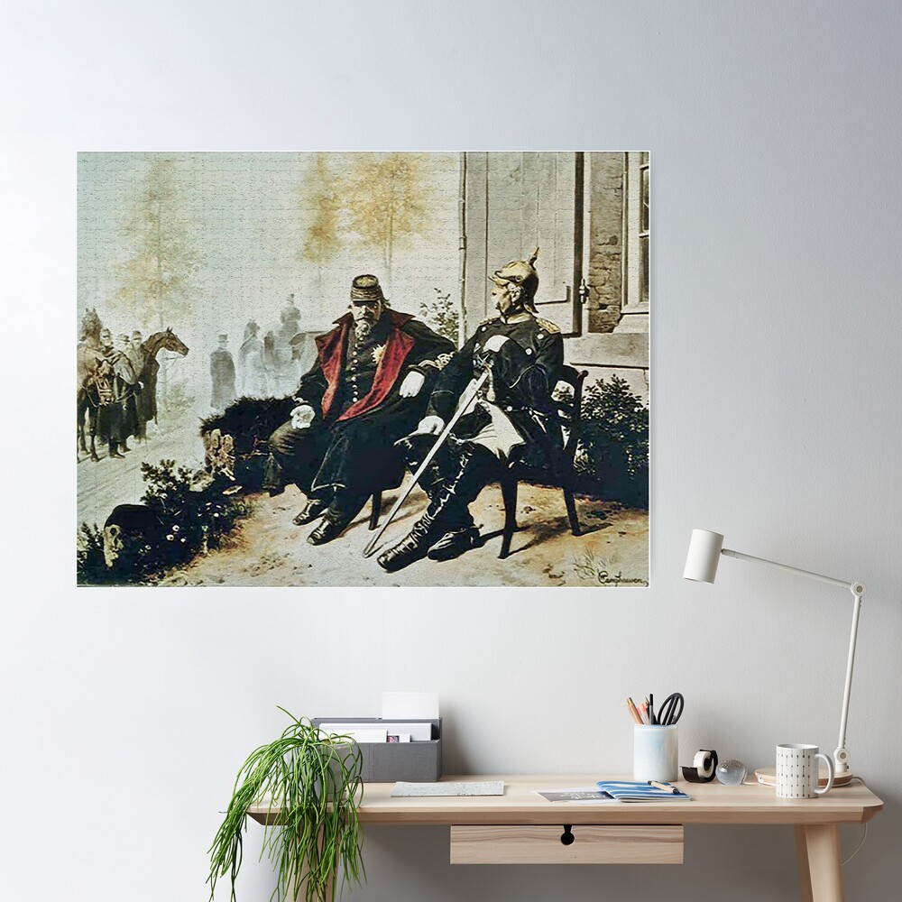 Bismarck and Napoleon III a after Prussia defeated the French Poster