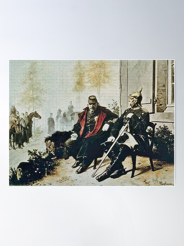Alternate view of Bismarck and Napoleon III a after Prussia defeated the French Poster