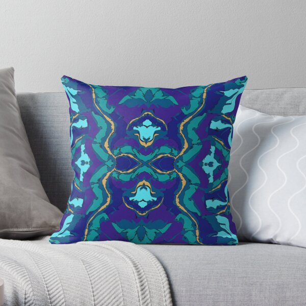Teal Purple Blue and Gold Floral Pattern Throw Pillow