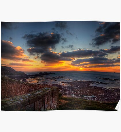 Sunset from the Wall of Fort Tourgis - Alderney Poster