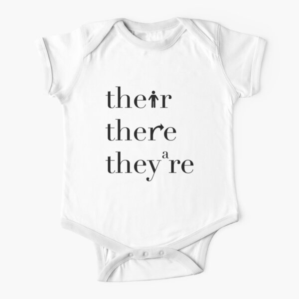 Their There They're Grammar Police Short Sleeve Baby One-Piece