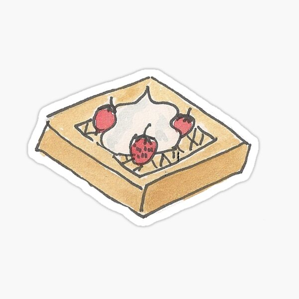 Delicious Strawberry and Whipped Cream Belgium Breakfast Waffle Sticker Sticker