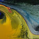 Supersonic Dinosaur: fluid acrylic pour painting by kerravonsen