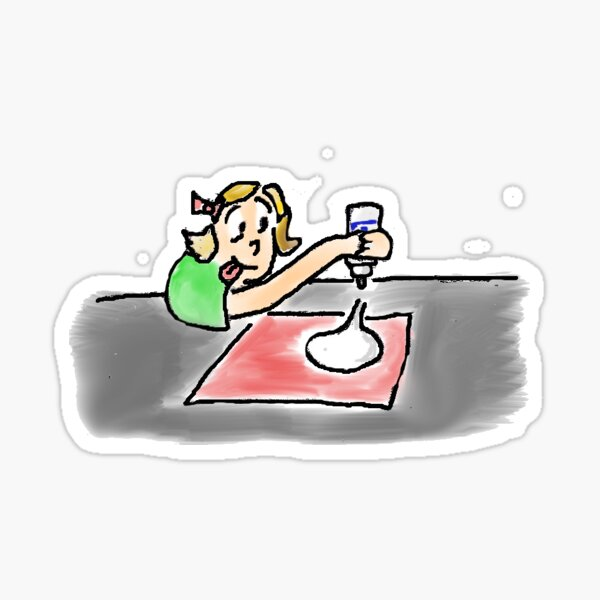A dot is a lot - OMG what are you doing original illustration of small child pouring glue into a fun puddle Sticker