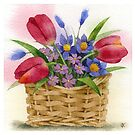 Tulips in basket by Sergei Kurbatov