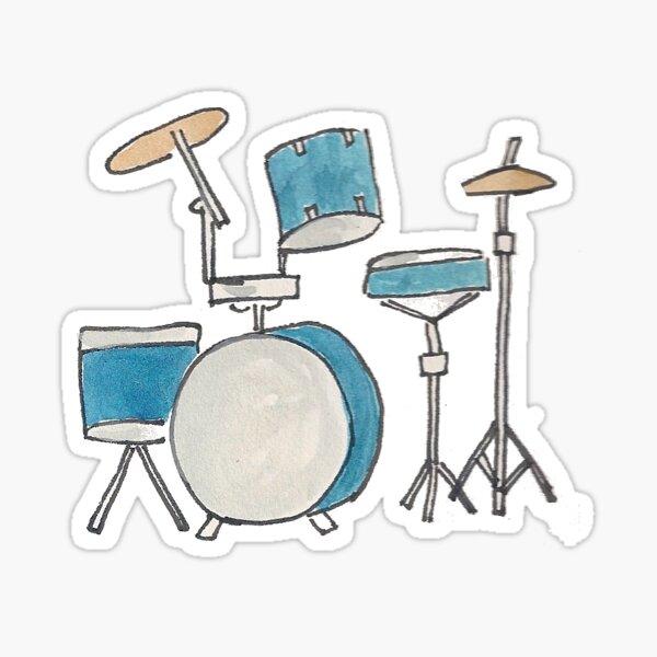 Drum Kit Original Watercolor Illustration Sticker