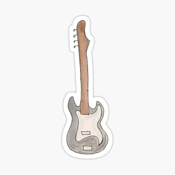 Bass Guitar Original Watercolor Illustration Sticker