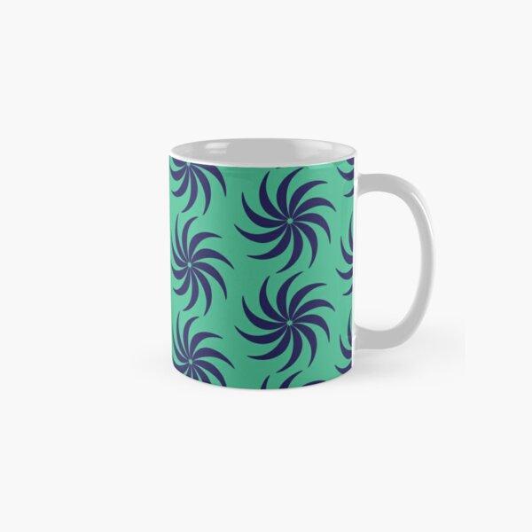 Navy Blue & Turquoise Flower Pattern Classic Mug
