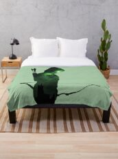 Green Arrow Silhouette  Throw Blanket