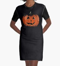 Vintage Happy Halloween Pumpkin Graphic T-Shirt Dress