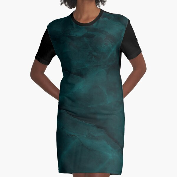 Dark Turquoise Marble Graphic T-Shirt Dress
