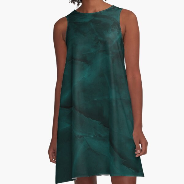 Dark Turquoise Marble A-Line Dress