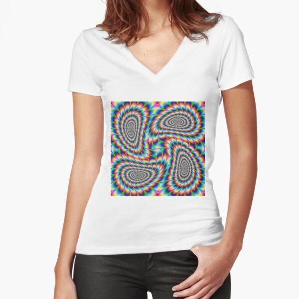 #OpArt, #visual #illusion, #VisualArt, opticalart, opticalillusion, opticalillusionart, opticalartillusion, psyhodelic, psichodelic, psyhodelicart Fitted V-Neck T-Shirt