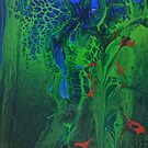 The Leopard Hides in the Jungle: fluid acrylic pour painting by kerravonsen