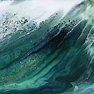 The Wave Rises: fluid acrylic pour painting by kerravonsen