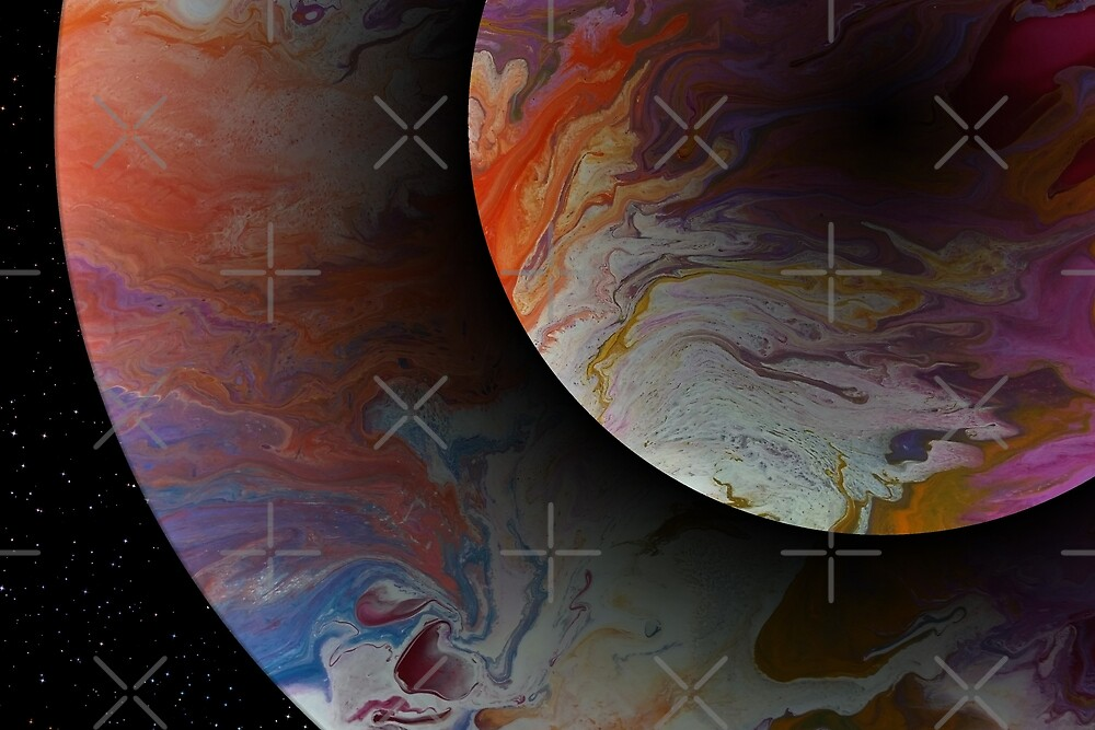 Twin Planets: fluid acrylic pour painting, digital art; outer space decor by kerravonsen