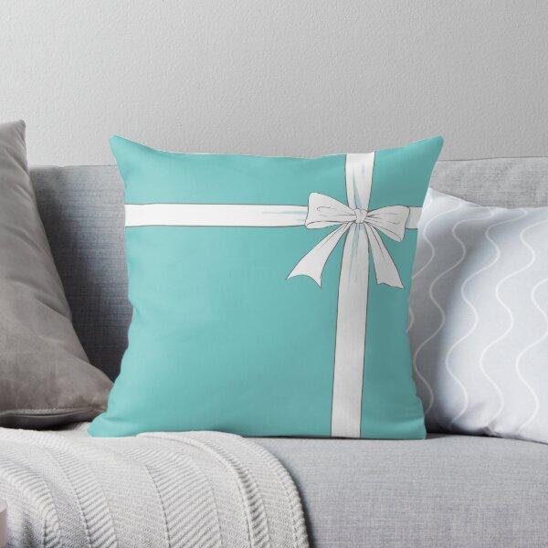 Tiffany Blue &White Ribbon Throw Pillow