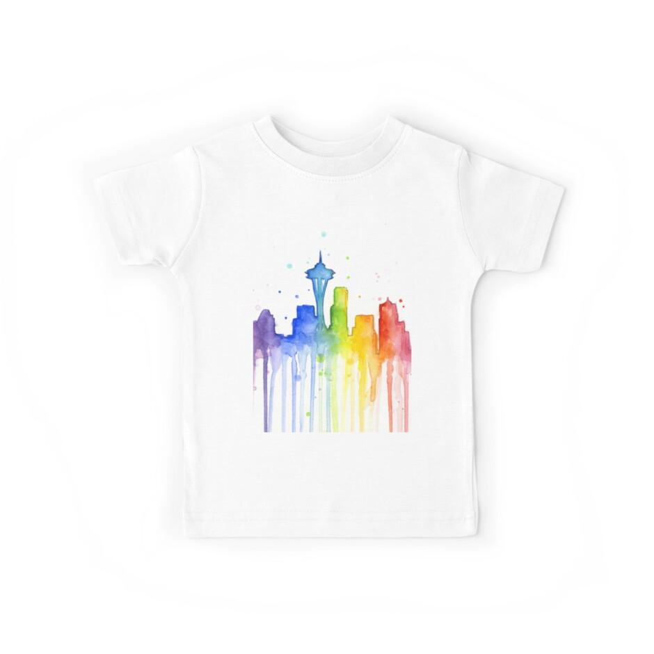 «Silueta acuarela de Seattle del arco iris» de Olga Shvartsur