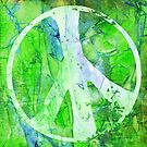 Peace Out in Green Grunge by MagickMama