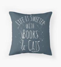 Cojín la vida es más dulce con libros y gatos #blanco