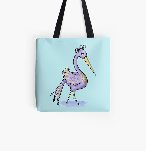 Purple Fantasy Bird All Over Print Tote Bag