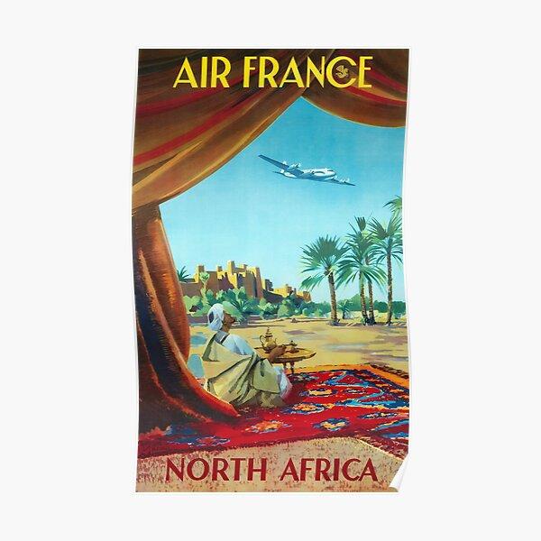 Afrique du Nord - Affiche vintage de voyage Air France des années 1950 Poster