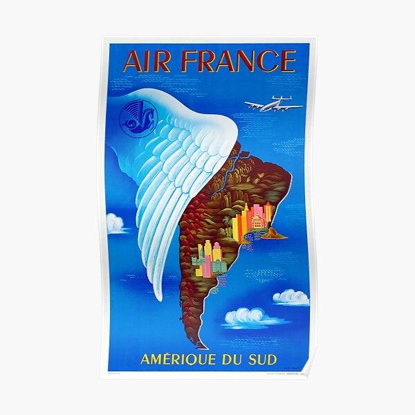 Amerique Du Sud - Cartel de viaje Vintage Air France de los años 60 Póster