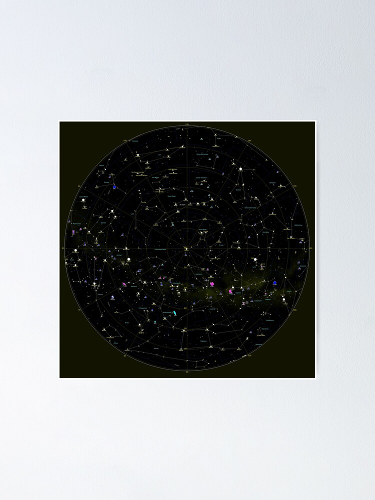 Alternate view of #Constellation #Map #ConstellationMap, #Astronomy, Cosmology, Universe, Science Poster