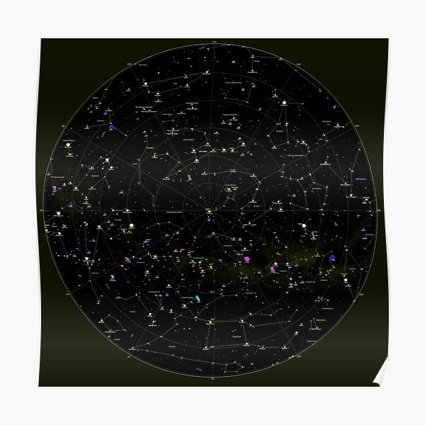 #Constellation #Map #ConstellationMap, #Astronomy, Cosmology, Universe, Science Poster