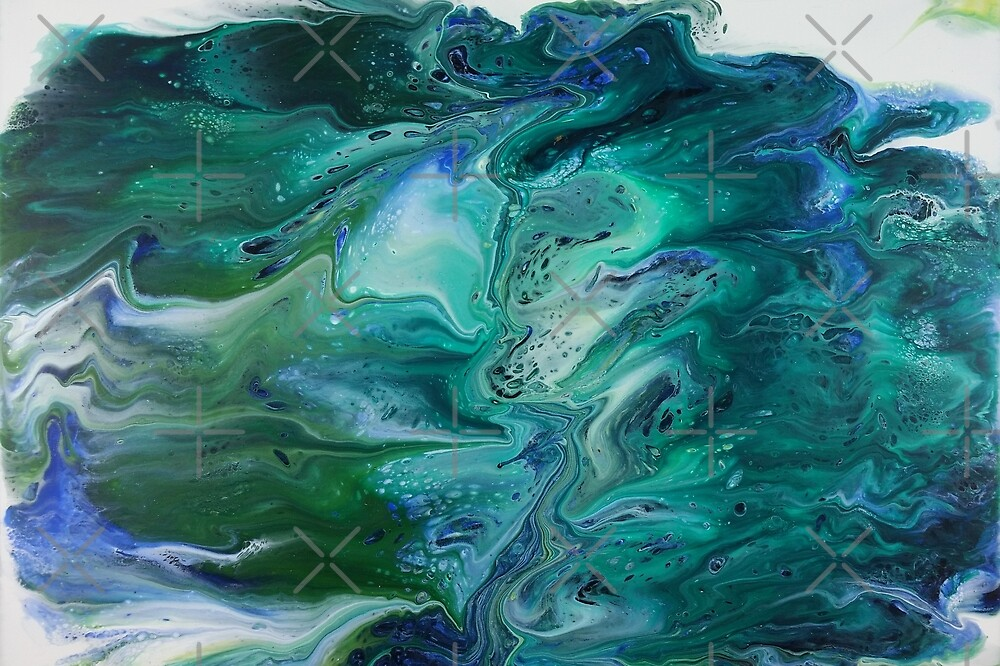 Waters Divided: fluid acrylic pour painting; Moses parts the Red Sea by kerravonsen