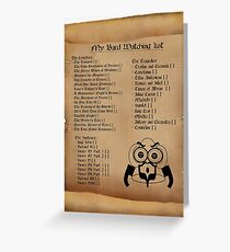 My Bard Watching List Greeting Card