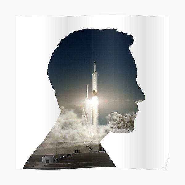 Silueta de lanzamiento de Elon Musk Póster
