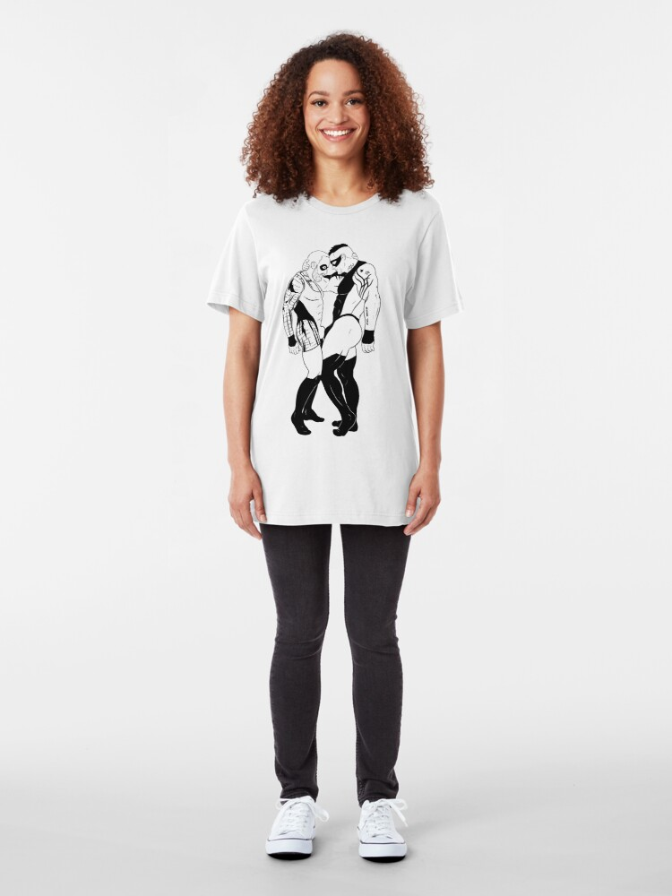 Alternate view of Copy of LOVE IS LOVE - hero edition black lines Slim Fit T-Shirt