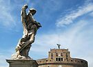 Angel with thorn crown and Castel Sant' Angelo, Rome, Italy by David Carton