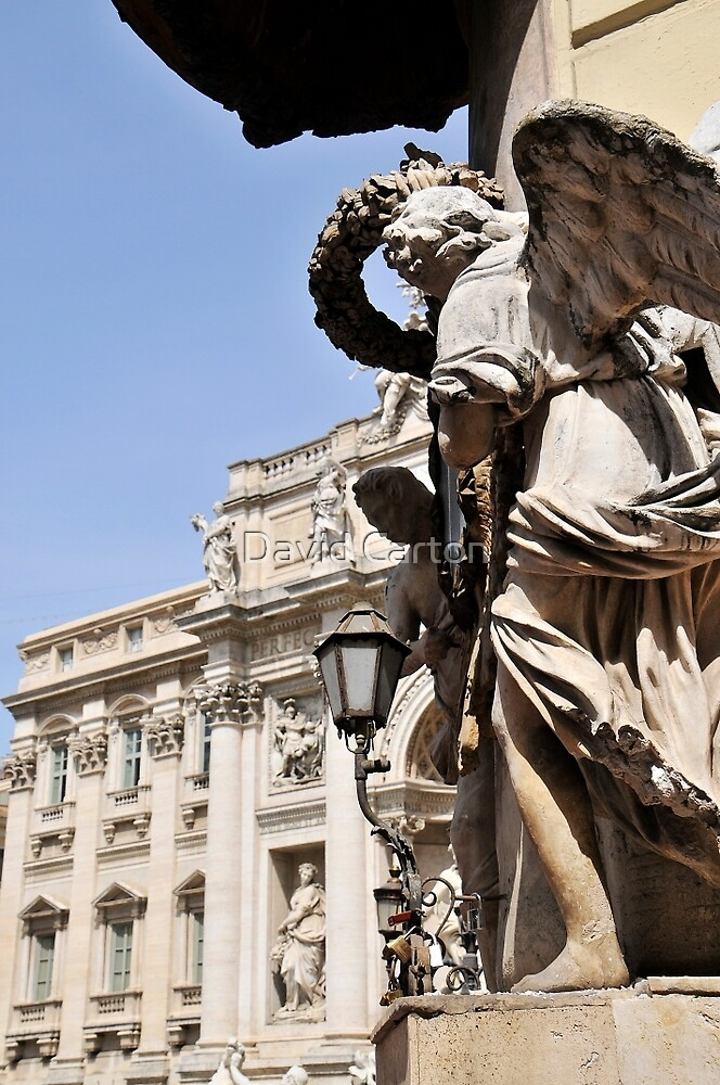 Angels on the corner, Trevi fountain, Rome, Italy by David Carton