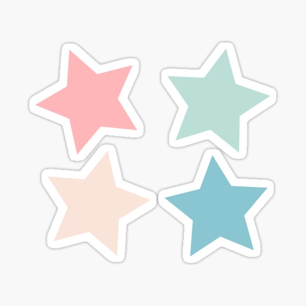 pastel four-pack star set Sticker