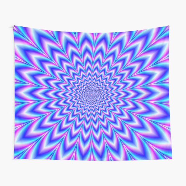 Psychedelic Pulse in Blue and Pink Tapestry