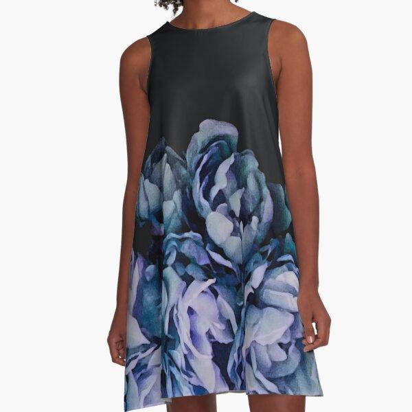 Punk Blau A-Linien Kleid