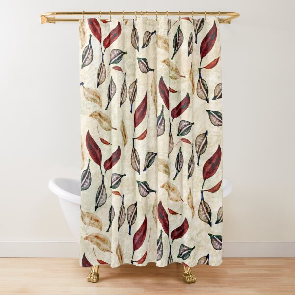 Seed Pod and Leaf Neutral, Red, and Teal Print Shower Curtain