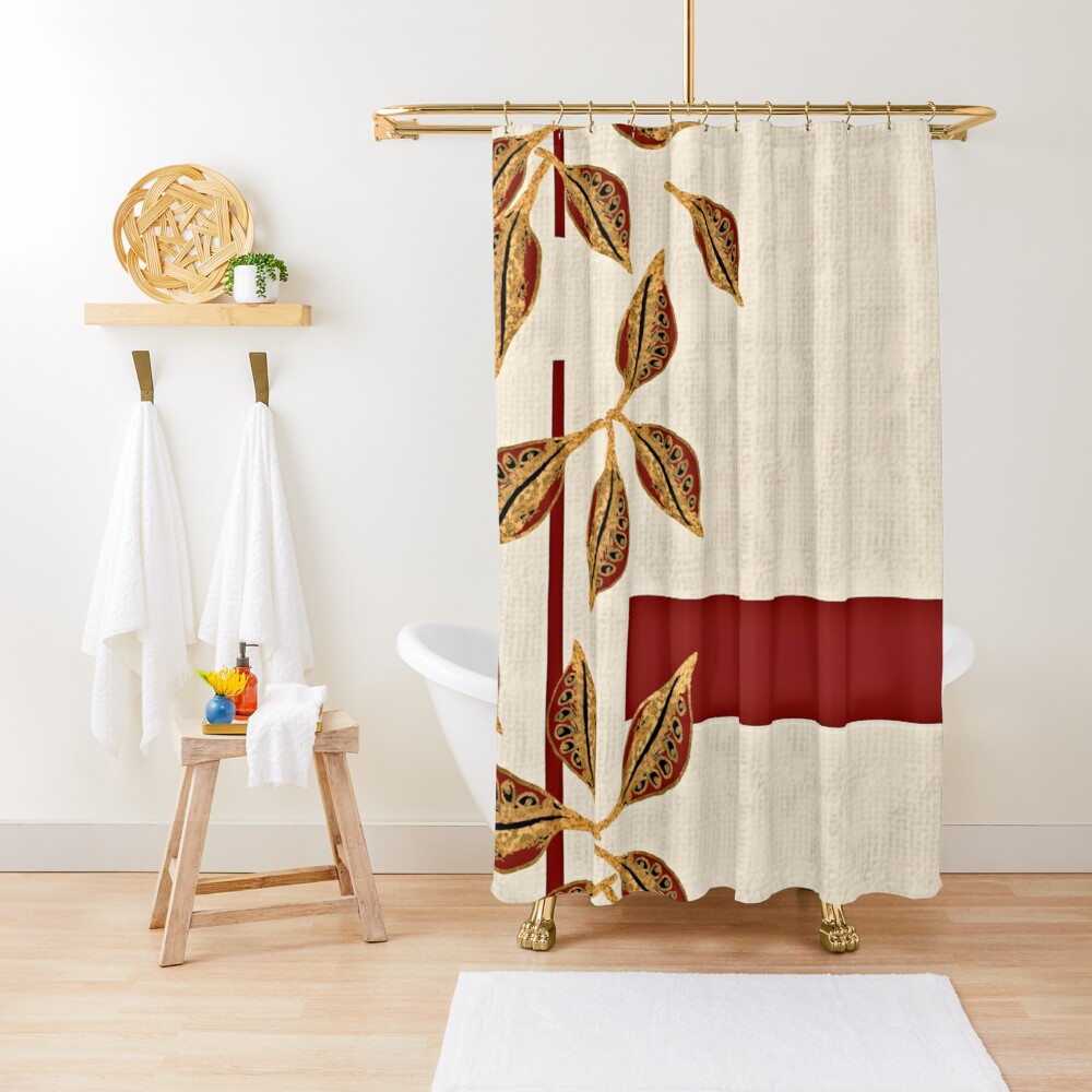 Minimal Red and Gold Neutral Seed Pods Leaves Nature Print Shower Curtain