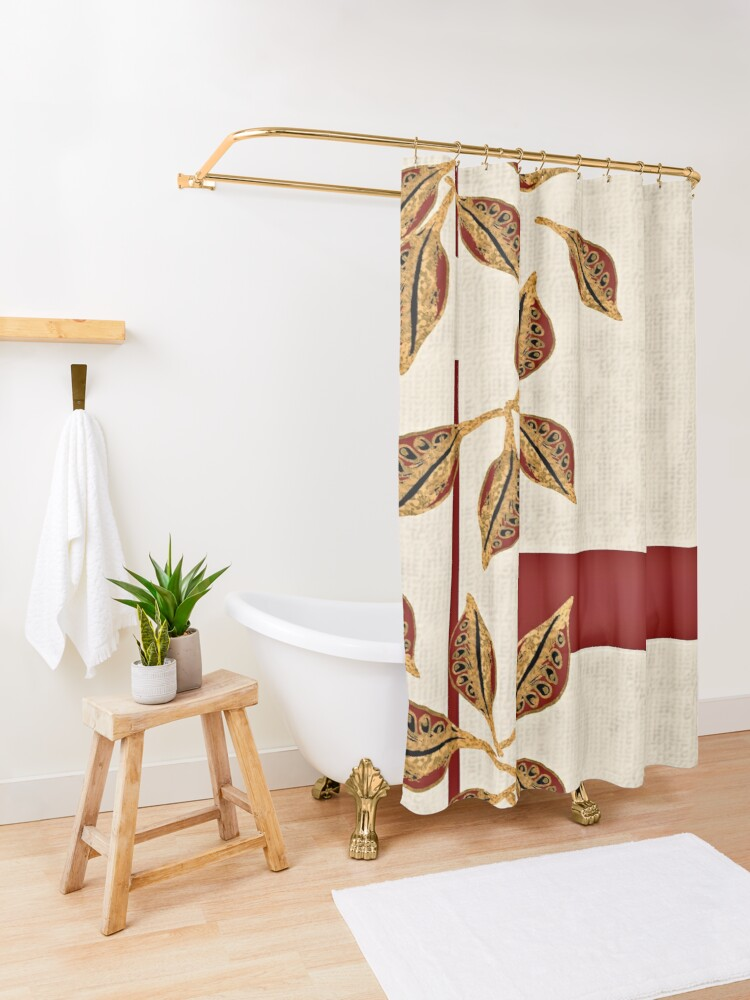 Alternate view of Minimal Red and Gold Neutral Seed Pods Leaves Nature Print Shower Curtain
