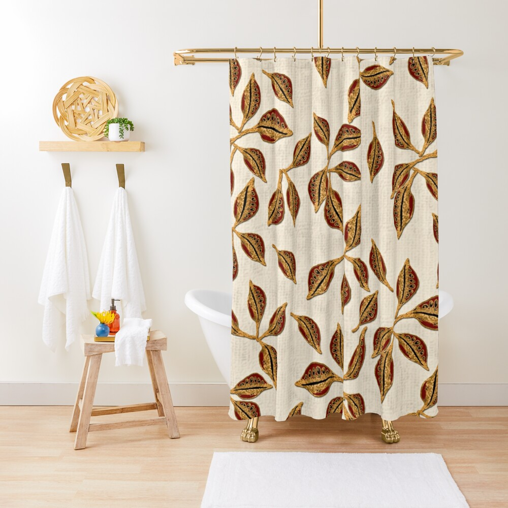 Golden Seed Pods Print Shower Curtain