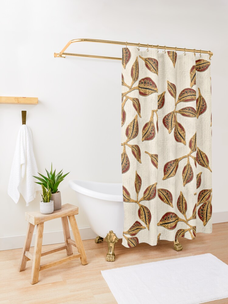 Alternate view of Golden Seed Pods Print Shower Curtain