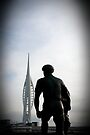 Spinnaker tower & statue, Portsmouth, UK by David Carton